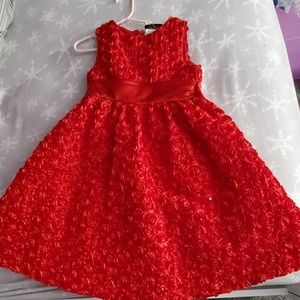 Girls red rosette Rare Editions dress size 6